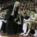 MADISON, WI - FEBRUARY 15: Head Coach Bo Ryan of the Wisconsin Badgers talk to Duje Dukan #13 on the bench during the first half against the Illinois Fighting Illini at Kohl Center on February 15, 2015 in Madison, Wisconsin. (Photo by Mike McGinnis/Getty Images)  *** Local Caption *** Bo Ryan