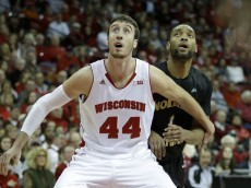 MADISON, WI - NOVEMBER 14: Frank Kaminsky #44 of the Wisconsin Badgers boxes out for the rebound during the first half of play against the Northern Kentucky Norse at Kohl Center on November 14, 2014 in Madison, Wisconsin. (Photo by Mike McGinnis/Getty Images)