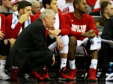 OMAHA, NE - MARCH 20:  Head coach Bo Ryan of the Wisconsin Badgers looks on in the first half against the Coastal Carolina Chanticleers during the second round of the 2015 NCAA Men's Basketball Tournament at the CenturyLink Center on March 20, 2015 in Omaha, Nebraska.  (Photo by Ronald Martinez/Getty Images)