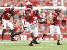 MADISON, WI - SEPTEMBER 20: Lubern Figaro #31of the Wisconsin Badgers celebrates after making a interception during the second quarter against the Bowling Green Falcons at Camp Randall Stadium on September 20, 2014 in Madison, Wisconsin. (Photo by Mike McGinnis/Getty Images)