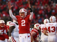 MADISON, WI - NOVEMBER 15:  Joel Stave #2 of the Wisconsin Badgers celebrates a touchdown against the Nebraska Cornhuskers at Camp Randall Stadium on November 15, 2014 in Madison, Wisconsin.  (Photo by Ronald Martinez/Getty Images)