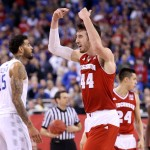INDIANAPOLIS, IN - APRIL 04:  Frank Kaminsky #44 of the Wisconsin Badgers celebrates late in the game against the Kentucky Wildcats during the NCAA Men's Final Four Semifinal at Lucas Oil Stadium on April 4, 2015 in Indianapolis, Indiana.  (Photo by Streeter Lecka/Getty Images)