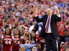 INDIANAPOLIS, IN - APRIL 06: Head coach Bo Ryan of the Wisconsin Badgers reacts after a play in the second half against the Duke Blue Devils during the NCAA Men's Final Four National Championship at Lucas Oil Stadium on April 6, 2015 in Indianapolis, Indiana.  (Photo by Andy Lyons/Getty Images)