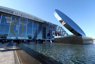 ARLINGTON, TX - JANUARY 04:  A general view of the exterior of AT&T Stadium before the NFC Wildcard Playoff Game between the Dallas Cowboys and the Detroit Lions on January 4, 2015 in Arlington, Texas.  (Photo by Ronald Martinez/Getty Images)