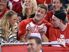 INDIANAPOLIS, IN - APRIL 06:  J.J. Watt of the Houston Texans looks on from the crowd in the first half of the game between the Duke Blue Devils and the Wisconsin Badgers during the NCAA Men's Final Four National Championship at Lucas Oil Stadium on April 6, 2015 in Indianapolis, Indiana.  (Photo by Streeter Lecka/Getty Images)