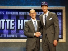 NEW YORK, NY - JUNE 25:  Frank Kaminsky poses with Commissioner Adam Silver after being selected ninth overall by the Charlotte Hornets in the First Round of the 2015 NBA Draft at the Barclays Center on June 25, 2015 in the Brooklyn borough of  New York City. NOTE TO USER: User expressly acknowledges and agrees that, by downloading and or using this photograph, User is consenting to the terms and conditions of the Getty Images License Agreement.  (Photo by Elsa/Getty Images)