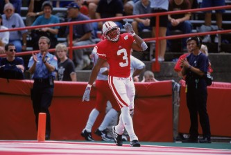 8 Sep 2001:  Lee Evans #3 of the Wisconsin Badgers celebrating in the end zone during the game against the Fresno State Bull Dogs at Camp Randall Stadium in Madison, Wisconsin. The Bull Dogs defeated the Badgers 32-20.Mandatory Credit: Jonathan Daniel  /Allsport