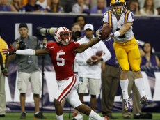 HOUSTON, TX - AUGUST 30:  Trey Quinn #8 of the LSU Tigers has the pass broken up by Darius Hillary #5 of the Wisconsin Badgers at NRG Stadium on August 30, 2014 in Houston, Texas.  (Photo by Bob Levey/Getty Images)