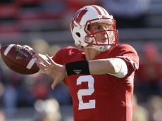 MADISON, WI - OCTOBER 25: Joel Stave #2 of the Wisconsin Badgers warms up in pregame before the game against the Maryland Terrapins at Camp Randall Stadium on October 25, 2014 in Madison, Wisconsin. (Photo by Mike McGinnis/Getty Images)