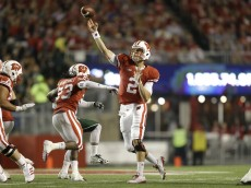 MADISON, WI - SEPTEMBER 26: Joel Stave #2 of the Wisconsin Badgers drops back and passes the football during the second half against the Hawaii Rainbow Warriors at Camp Randall Stadium on September 26, 2015 in Madison, Wisconsin. (Photo by Mike McGinnis/Getty Images)  *** Local Caption *** Joel Stave
