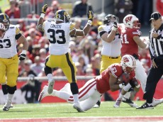 MADISON, WI - OCTOBER 03: T.J. Edwards #53 of the Wisconsin Badgers makes an interception during the first half against the Iowa Hawkeyes during the first half against the Wisconsin Badgers at Camp Randall Stadium on October 03, 2015 in Madison, Wisconsin. (Photo by Mike McGinnis/Getty Images)