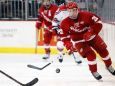 14 Feb 2014: Grant Besse (OSU - 21)  Ohio State beat the University of Wisconsin 2-1 at Value City Arena in Columbus, OH.