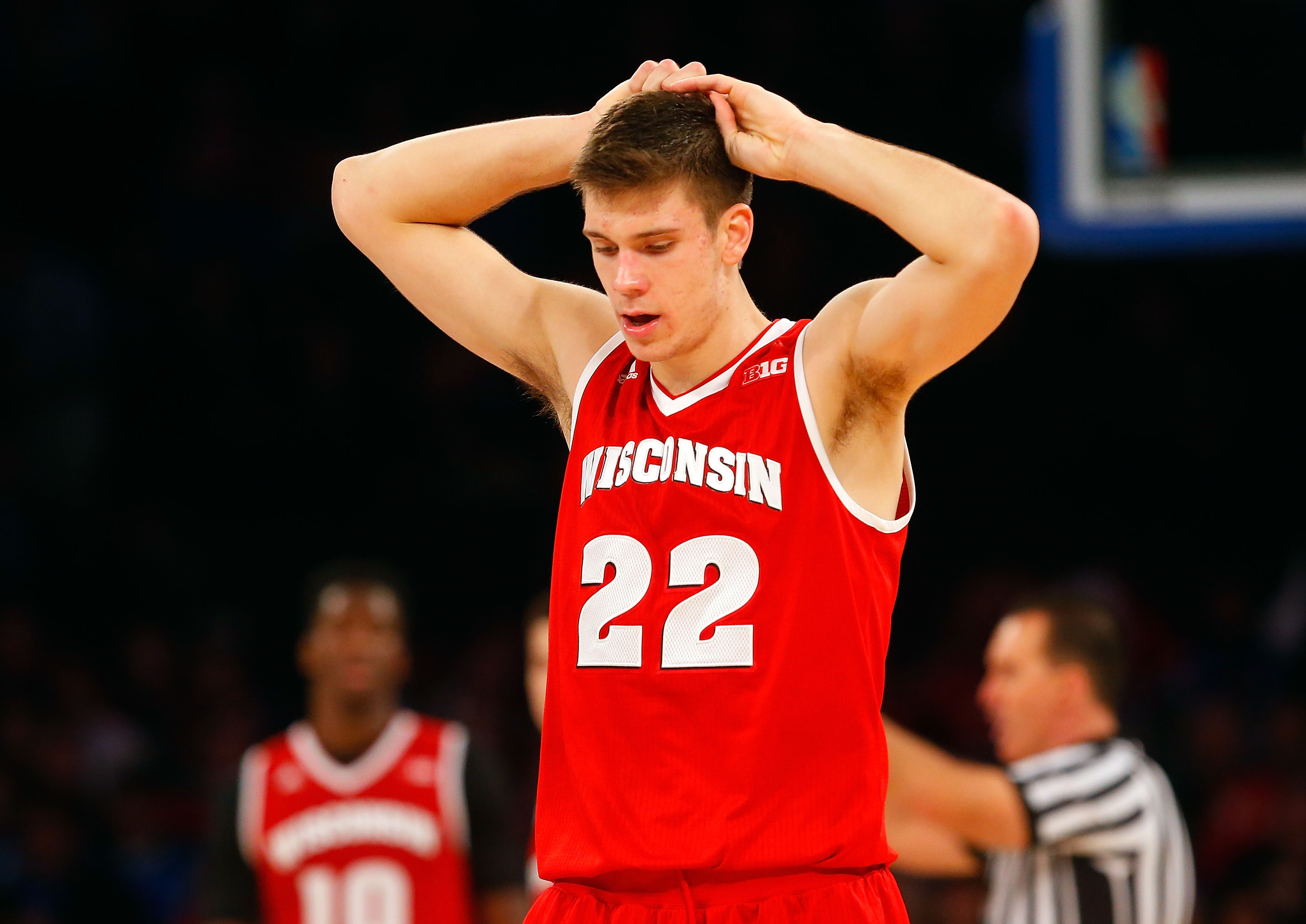 NEW YORK, NY - NOVEMBER 20:  Ethan Happ #22 of the Wisconsin Badgers looks on late in the second half against the Georgetown Hoyas during the 2K Classic at Madison Square Garden on November 20, 2015 in New York City.  (Photo by Jim McIsaac/Getty Images)