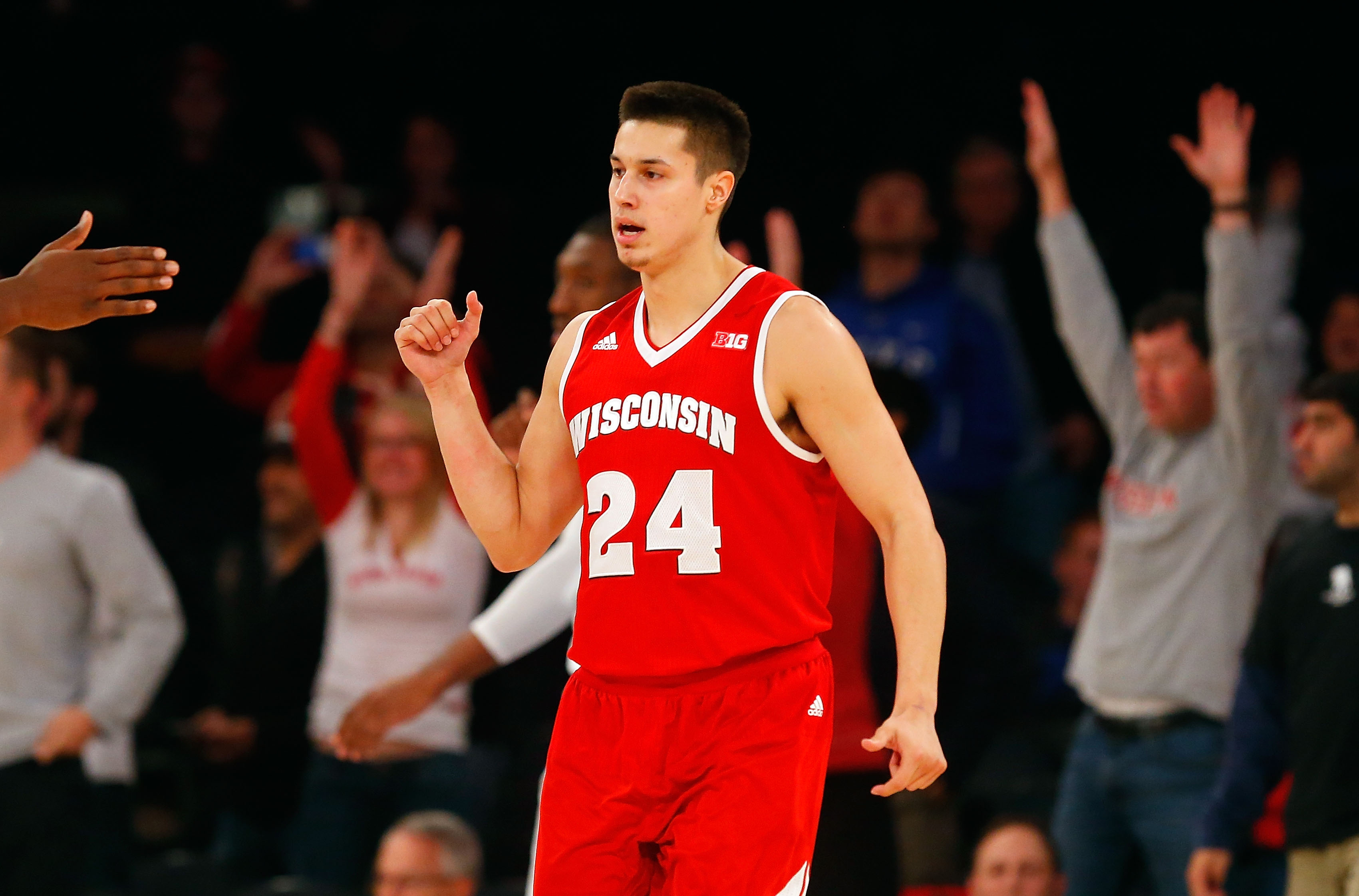 NEW YORK, NY - NOVEMBER 22:  Bronson Koenig #24 of the Wisconsin Badgers reacts after defeating the Virginia Commonwealth Rams after the 2K Classic consolation game at Madison Square Garden on November 22, 2015 in New York City.  (Photo by Jim McIsaac/Getty Images)