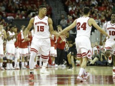 MADISON, WI - NOVEMBER 25: Charlie Thomas #15 of the Wisconsin Badgers celebrates after making two points during the second half against the Prairie View Panthers at Kohl Center on November 25, 2015 in Madison, Wisconsin. (Photo by Mike McGinnis/Getty Images)  *** Local Caption *** Charlie Thomas