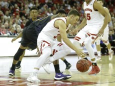 MADISON, WI - NOVEMBER 25: Zak Showa;later #3 of the Wisconsin Badgers steals there basketball during the second half against the Prairie View Panthers during the second half against Wisconsin Badgers at Kohl Center on November 25, 2015 in Madison, Wisconsin. (Photo by Mike McGinnis/Getty Images)