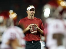 TUCSON, AZ - OCTOBER 11:  Defensive Coordinator Justin Wilcox of the USC Trojans during warm ups to the college football game atagainst the Arizona Wildcats  Arizona Stadium on October 11, 2014 in Tucson, Arizona.  (Photo by Christian Petersen/Getty Images)