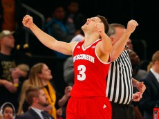 NEW YORK, NY - NOVEMBER 22:  Zak Showalter #3 of the Wisconsin Badgers reacts after defeating the Virginia Commonwealth Rams after the 2K Classic consolation game at Madison Square Garden on November 22, 2015 in New York City.  (Photo by Jim McIsaac/Getty Images)