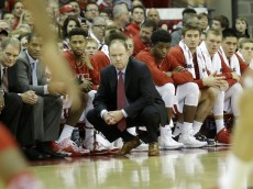 MADISON, WI - JANUARY 09: Head Coach Greg Gard of the Wisconsin Badgers watches from the sidelines during the first half against the Maryland Terrapins at Kohl Center on January 09, 2016 in Madison, Wisconsin. (Photo by Mike McGinnis/Getty Images)