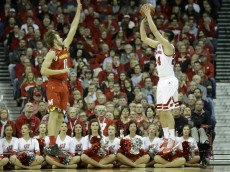 MADISON, WI - JANUARY 09: Bronson Koenig #24 of the Wisconsin Badgers shoots a three pointer during the second half against the Maryland Terrapins at Kohl Center on January 09, 2016 in Madison, Wisconsin. (Photo by Mike McGinnis/Getty Images)  *** Local Caption *** Bronson Koenig