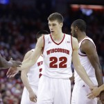 MADISON, WI - JANUARY 17: Ethan Happ #212 of the Wisconsin Badgers celebrates after drawing a foul during the first half against the Michigan State Spartans at Kohl Center on January 17, 2016 in Madison, Wisconsin. (Photo by Mike McGinnis/Getty Images)