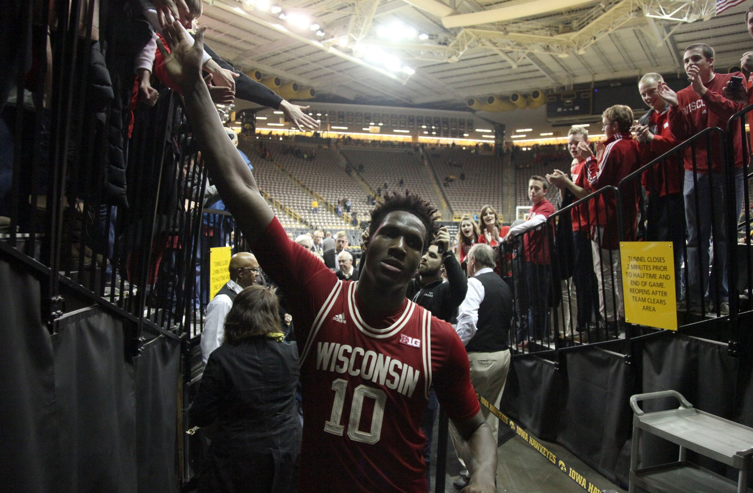 IOWA CITY, IA - FEBRUARY 24:   Forward Nigel Hayes #10 of the Wisconsin Badgers walks off the court after they defeating the Iowa Hawkeyes on February 24, 2016 at Carver-Hawkeye Arena, in Iowa City, Iowa.  (Photo by Matthew Holst/Getty Images)