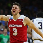 PHILADELPHIA, PA - MARCH 25: Zak Showalter #3 of the Wisconsin Badgers reacts after a foul against V.J. Beachem #3 of the Notre Dame Fighting Irish in the second half during the 2016 NCAA Men's Basketball Tournament East Regional at Wells Fargo Center on March 25, 2016 in Philadelphia, Pennsylvania.  (Photo by Elsa/Getty Images)