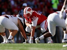 MADISON, WI - SEPTEMBER 19:  Offensive lineman Michael Deiter #63 of the Wisconsin Badgers during the college football game against the Troy Trojans at Camp Randall Stadium on September 19, 2015 in Madison, Wisconsin. The Badgers defeated the Trojans 28-3. (Photo by Christian Petersen/Getty Images)