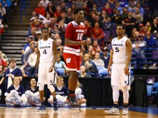 ST LOUIS, MO - MARCH 20: Nigel Hayes #10 of the Wisconsin Badgers reacts to a turnover call in the second half against the Xavier Musketeers during the second round of the 2016 NCAA Men's Basketball Tournament at Scottrade Center on March 20, 2016 in St Louis, Missouri.  (Photo by Dilip Vishwanat/Getty Images)