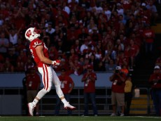MADISON, WI - SEPTEMBER 19:  Linebacker Vince Biegel #47 of the Wisconsin Badgers reacts during the college football game against the Troy Trojans at Camp Randall Stadium on September 19, 2015 in Madison, Wisconsin.  (Photo by Christian Petersen/Getty Images)