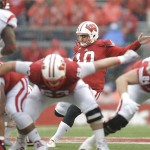 MADISON, WI - OCTOBER 31: Rafael Gaglianone #10 of the Wisconsin Badgers kicks a field goal during the first quarter against the Rutgers Scarlet Knights at Camp Randall Stadium on October 31, 2015 in Madison, Wisconsin. (Photo by Mike McGinnis/Getty Images)