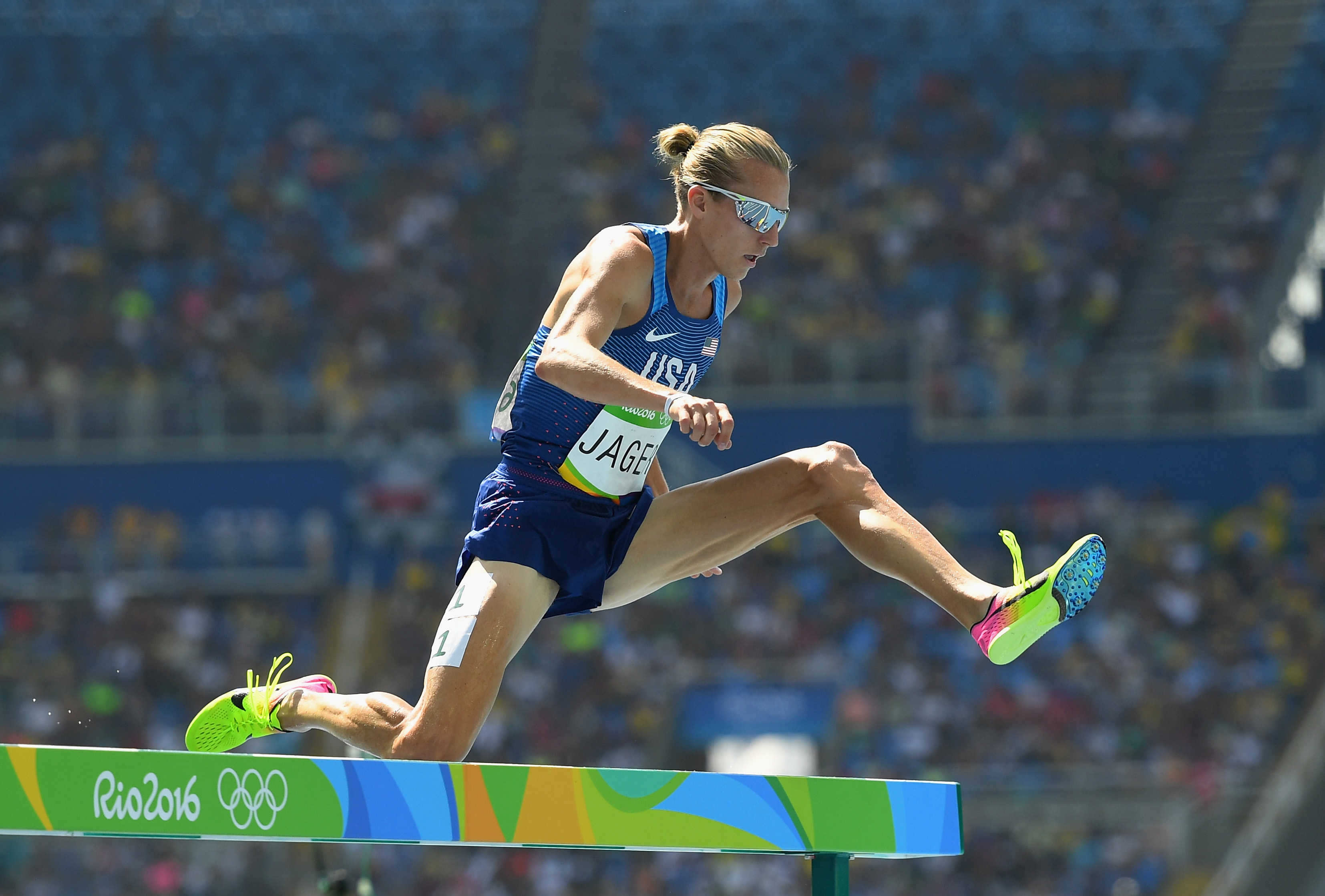 RIO DE JANEIRO, BRAZIL - AUGUST 15: Evan Jager of the United States competes during the Men's 3000m Steeplechase Round 1 on Day 10 of the Rio 2016 Olympic Games at the Olympic Stadium on August 15, 2016 in Rio de Janeiro, Brazil.  (Photo by Quinn Rooney/Getty Images)