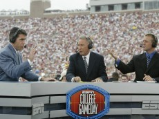 TALLAHASSEE, FL - OCTOBER 26:  ESPN College GameDay announcers (l to r) Chris Fowler, Lee Corso and Kirk Herbstreit comment during the NCAA football game between Notre Dame and Florida State at Doak Campbell Stadium on October 26, 2002 in Tallahassee, Florida.  The Notre Dame Fighting Irish defeated the Florida State Seminoles 34-24.  (Photo by Craig Jones/Getty Images)