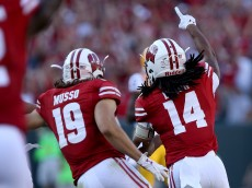 GREEN BAY, WI - SEPTEMBER 3:  D'Cota Dixon #14 of the Wisconsin Badgers celebrates after making an interception in the fourth quarter against the LSU Tigers at Lambeau Field on September 3, 2016 in Green Bay, Wisconsin. (Photo by Dylan Buell/Getty Images)