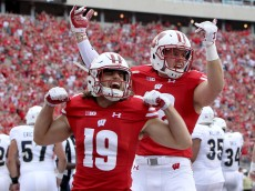 MADISON, WI - SEPTEMBER 10:  Leo Musso #19 of and T.J. Watt #42 of the Wisconsin Badgers celebrate after recording a sack in the first quarter against the Akron Zips at Camp Randall Stadium on September 10, 2016 in Madison, Wisconsin. (Photo by Dylan Buell/Getty Images)