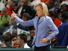 ORAL GABLES, FL - JANUARY 9: Head Coach Sue Semrau of the Florida State Seminoles gives a thumbs up to her players in the final minute of the game against the Miami Hurricanes on January 9, 2014 at the BankUnited Center in Coral Gables, Florida. The Seminoles defeated the Hurricanes 68-63. (Photo by Joel Auerbach/Getty Images)
