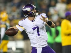 GREEN BAY, WI - OCTOBER 2: Quarterback Christian Ponder #7 of the Minnesota Vikings warms up prior to the NFL game against the Green Bay Packers on October 02, 2014 at Lambeau Field in Green Bay, Wisconsin. (Photo by John Konstantaras/Getty Images)