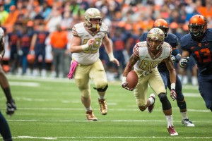 SYRACUSE, NY - OCTOBER 11:  Rashad Greene #80 of the Florida State Seminoles runs with the ball into the red zone against the Syracuse Orange on October 11, 2014 at The Carrier Dome in Syracuse, New York.  Florida State Seminoles defeat Syracuse Orange 38-20.  (Photo by Brett Carlsen/Getty Images)