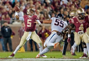 TALLAHASSEE, FL - NOVEMBER 8: Quarterback Jameis Winston #5 of the Florida State Seminoles looks to make a pass against the Virginia Cavaliers during the game at Doak Campbell Stadium on November 8, 2014 in Tallahassee, Florida. The Seminoles beat the Cavaliers 34-20 (Photo by Jeff Gammons/Getty Images)