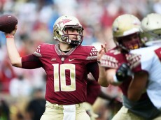 TALLAHASSEE, FL - APRIL 11:  Sean Maguire #10 of the Garnet team drops back to pass against the Gold team during Florida State's Garnet and Gold spring game at Doak Campbell Stadium on April 11, 2015 in Tallahassee, Florida.  (Photo by Stacy Revere/Getty Images)