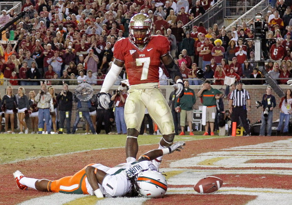 TALLAHASSEE, FL - NOVEMBER 12:  Allen Hurns #1 of the Miami Hurricanes misses a touchdown catch as Christian Jones #7 of the Florida State Seminoles looks on during a game at Doak Campbell Stadium on November 12, 2011 in Tallahassee, Florida.  (Photo by Mike Ehrmann/Getty Images)