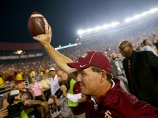 TALLAHASSEE, FL - OCTOBER 18:  Head coach Jimbo Fisher of the Florida State Seminoles celebrates after defeating the Notre Dame Fighting Irish 31-27 at Doak Campbell Stadium on October 18, 2014 in Tallahassee, Florida.  (Photo by Streeter Lecka/Getty Images)