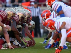 during a game  at Doak Campbell Stadium on November 29, 2014 in Tallahassee, Florida.