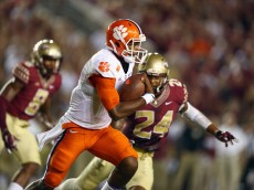 TALLAHASSEE, FL - SEPTEMBER 20:  Deshaun Watson #4 of the Clemson Tigers runs against the Florida State Seminoles at Doak Campbell Stadium on September 20, 2014 in Tallahassee, Florida.  (Photo by Ronald Martinez/Getty Images)