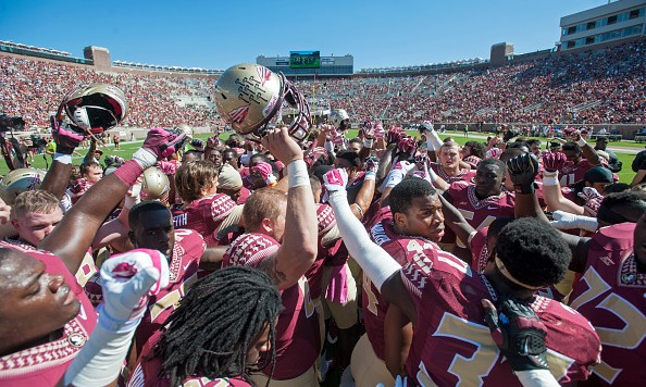 TALLAHASSEE, FL - OCTOBER 4: The Florida State Seminoles pump themselves up in a team huddle prior to the game against the Wake Forest Demon Deacons at Doak Campbell Stadium on October 4, 2014 in Tallahassee, Florida.  (Photo by Jeff Gammons/Getty Images)