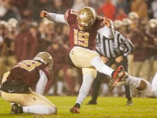 TALLAHASSEE, FL - NOVEMBER 22: Kicker Roberto Aguayo #19 of the Florida State Seminoles kicks the game winning field goal against the Boston College Eagles during the game at Doak Campbell Stadium on November 22, 2014 in Tallahassee, Florida. The Seminoles defeated the Eagles 20-17. (Photo by Jeff Gammons/Getty Images)