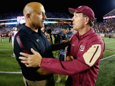CHESTNUT HILL, MA - SEPTEMBER 18:  Head coach Jimbo Fisher of the Florida State Seminoles, right, and head coach Steve Addazio of the Boston College Eagles shake hands following their game at Alumni Stadium on September 18, 2015 in Chestnut Hill, Massachusetts.  (Photo by Maddie Meyer/Getty Images)