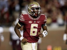 TALLAHASSEE, FL - SEPTEMBER 5: Quarterback Everette Golson #6 of the Florida State Seminoles celebrates after a score during the game against the Texas State Bobcats at Doak Campbell Stadium on Bobby Bowden Field on September 5, 2015 in Tallahassee, Florida. The 10th ranked Seminoles defeated Texas State 59 to 16. (Photo by Don Juan Moore/Getty Images)