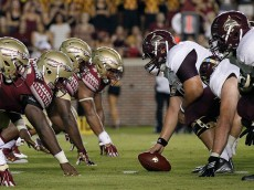 TALLAHASSEE, FL - SEPTEMBER 5: A general view of the line of scrimmage with the Florida State Seminoles playing against the Texas State Bobcats at Doak Campbell Stadium on Bobby Bowden Field on September 5, 2015 in Tallahassee, Florida. The 10th ranked Seminoles defeated Texas State 59 to 16. (Photo by Don Juan Moore/Getty Images)