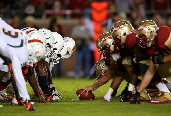 TALLAHASSEE, FL - NOVEMBER 02: The Florida State Seminoles line up against the Miami Hurricanes during a game  at Doak Campbell Stadium on November 2, 2013 in Tallahassee, Florida.  (Photo by Mike Ehrmann/Getty Images)